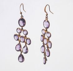 Chandelier Earrings, Gold-plated brasswith beautiful genuine amethyst gemstones for an elegant vibrant look. Chandelier Earrings, Drop Earrings, Amethyst Gemstone, Plating, Brass, Gemstones, Elegant, Metal, Gold
