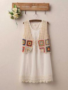 Fada do Crochet: COLETE LINDO DE SQUARES.... LINDOO