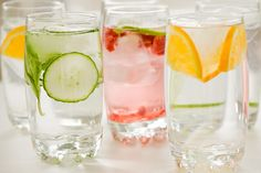 Make a fresh fruit seltzer (add fresh fruit or 2 oz 100% fruit juice to seltzer water or plain water)