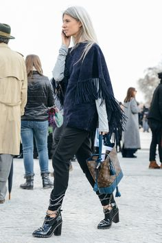 The Year in Tommy Ton - Gallery - Style.com  ~~ love the look but the cape should be faux suede
