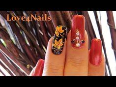 Autumn Leaves Fall Nail Art Design Tutorial - YouTube