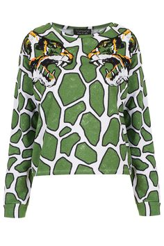 Girraffe print sweat with embroidered tigers