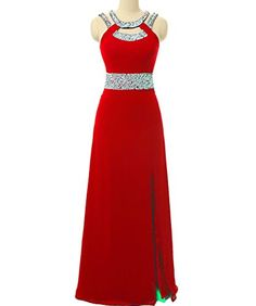 Lemai Plus Size Beaded Long Front Slit Backless Formal Prom Dress Evening Gown Red US 20W * You can get additional details at the image link.
