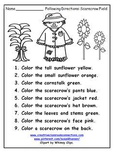 Free following directions worksheet features a fall scarecrow and sunflowers. Find complete following direction units at: www.creativeclassroomconnections.com Speech Therapy Activities, Language Activities, Preschool Activities, Library Activities, Kindergarten Worksheets, Worksheets For Kids, Kindergarten Prep, Following Directions Activities, Halloween Worksheets