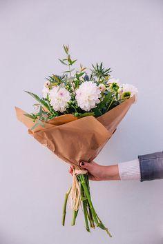 Beautiful White Dahlia Bouquet With Scottish Thistle And Eucalyptus White Dahlia Bouquet, White Dahlias, Fresh Flowers, Beautiful Flowers, Vases, Bloom Baby, Scottish Thistle, Floral Bouquets, My Flower