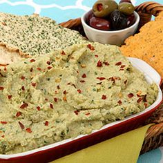 Artichoke Green Olive Dip—Simple Mediterranean ingredients create a rich and creamy dip without any dairy products. Serve with flatbread crackers.