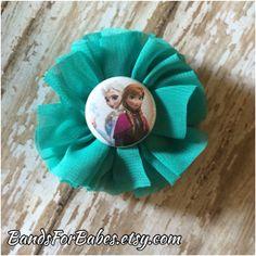 Disney's Frozen Chiffon Flower Hair Clip Elsa and Anna Hair Bow by BandsForBabes, $4.50