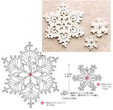 I love snowflakes. I love to crochet them and to decorate with them. We use them as Christmas tree ornaments and on hanging wreath. Every year I'm asked to share crochet snowflakes diagrams& Crochet Snowflake Pattern, Crochet Stars, Crochet Motifs, Christmas Crochet Patterns, Crochet Snowflakes, Crochet Diagram, Crochet Doilies, Crochet Flowers, Christmas Knitting