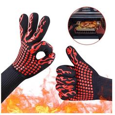 Rubber Bbq Cooking Gloves - Details About Extreme Bbq Heat Resistant Rubber Gloves Kitchen Oven Cooking 932 Hot Mitts Pl 800 Grad, Kitchen Gloves, Welding Gloves, Grill Oven, Kitchen Grill, Heat Resistant Gloves, Cotton Gloves, Pose, Safety Gloves