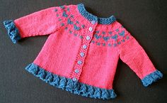 Stricken Valentine's Heart Cardigan pattern by Tricia Brownstein, Knitted Baby Cardigan, Knit Baby Sweaters, Knitted Baby Clothes, Cardigan Pattern, Girls Sweaters, Baby Knits, Knitting For Kids, Baby Knitting Patterns, Baby Patterns