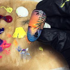 Make an original manicure for Valentine's Day - My Nails Tropical Nail Art, Beach Nail Art, Sea Nails, Vacation Nails, New Nail Designs, Thanksgiving Nails, Acrylic Nail Art, Beautiful Nail Art, Perfect Nails