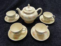 $149.99 Homer Laughlin Eggshell Nautilus Ferndale 1943 Tea Pot & 4 Cups RARE & MINT! #HomerLaughlin
