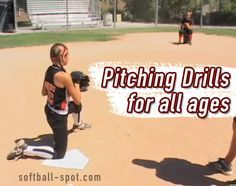 Softball Pitching Drills for all ages. One knee drills and wrist snap drills are great softball pitcher exercises for girls. Softball Pitching Drills, Softball Workouts, Fastpitch Softball, Softball Cheers, Softball Quotes, Girls Softball, Softball Stuff, Softball Crafts, Softball Shirts