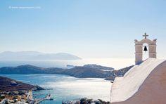 Blue and Gold Aegean The sky, the sea, the island… at Ios island Mykonos, Santorini, Small Island, Archipelago, Travel Destinations, Scenery, Coast, Sky, Landscape