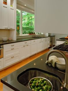 - Kitchen Cabinet Color Options: Ideas From Top Designers on HGTV...two sinks and outdoors as your accompanyment...nice