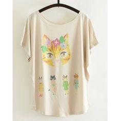 Lovely Kitten Print Short Sleeve Scoop Neck Loose T-Shirt For Women