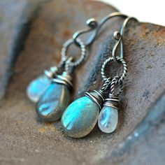 Dark Side of the Moon - Labradorite and Moonstone Wire Wrapped Sterling Silver Earrings by Mayahelena on Etsy https://www.etsy.com/listing/173822038/dark-side-of-the-moon-labradorite-and