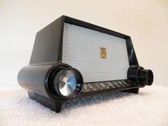 Vintage 1950s Motorola Solid Black Bakelite Chrome Atomic Jetsons Retro Radio | eBay