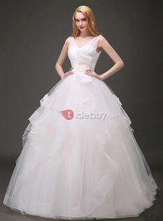 ロングプリンセスホワイトウエディングドレス