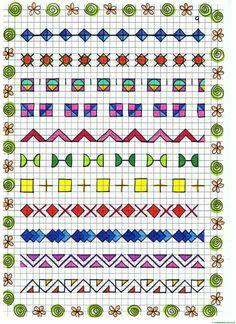 Borders – Printable Grid Drawings – Teacher's Website Graph Paper Drawings, Graph Paper Art, Blackwork, Page Borders Design, Border Design, Cross Stitch Borders, Cross Stitch Patterns, Zentangle, Symmetry Worksheets