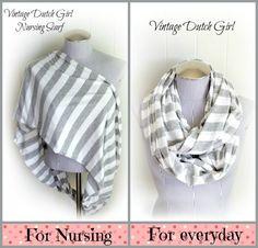 Nursing Infinity Scarf! Love this idea! Gray and White Stripe Infinity Scarf Extra by VintageDutchGirl, $18.99