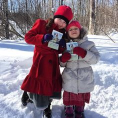 Two young sisters happy to be sharing the invitations in Elk Lake Ontario Canada. Photo shared by @greenalthomas