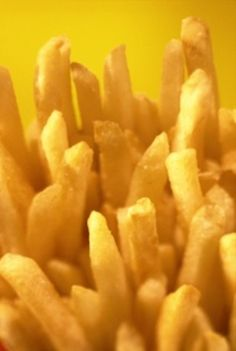 French Fries  Russets, Peanut Oil, Sea Salt  Soak 2 hours  Dry  Blanche Fry - 2 minutes at 300  Cool  Crisp Fry - 3 to 4 minutes at 375