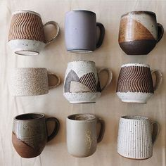 hand thrown ceramic mugsYou can find Ceramic mugs and more on our website.hand thrown ceramic mugs Ceramics Pottery Mugs, Ceramic Pottery, Slab Pottery, Pottery Vase, Pottery Wheel Diy, Ceramic Cups, Ceramic Art, Ceramic Shop, Rustic Mugs