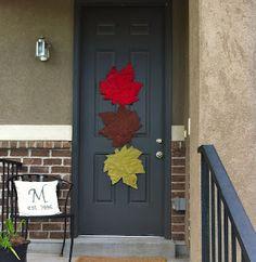 Autumn door decor made out of place mats.