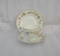 Vintage  Fine bone china Wedgwood Mirabelle  Trio  Teacup, Saucer and sideplate by TheMewsCottage on Etsy