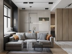 Interior of the living room and kitchen in Moscow on Behance Small Apartment Interior, Small House Interior Design, House Design, Living Room Sofa Design, Living Room Interior, Living Room Designs, Adobe Portfolio, Classic Living Room, Interior Architecture