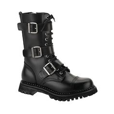 Men's Gothic Boots: Black Leather Gothic Boots