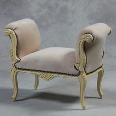 Very Pretty French Style Antique Cream Small Bench Seat/Window Seat NEW   eBay