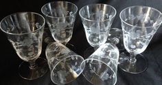 6 Vintage Etched Crystal Cordial or Wine by SistersShabbyCloset