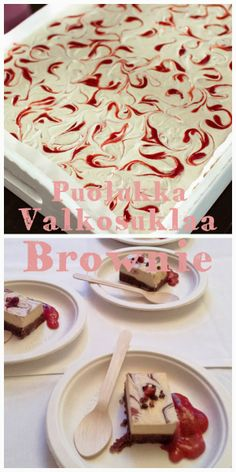 Raw White Chocolate Brownie w/ Lingonberry Syrup - Puolukka-valkosuklaa Browniet (Raw + Video) | Keittiökameleontti