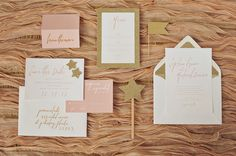 Wedding Invitations and Paper Goods: A & P Designs. Pink and gold wedding invites.