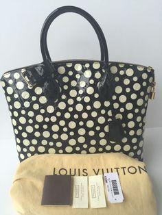 2a337710d58c AUTHENTIC Louis Vuitton Yayoi Kusama Lockit MM Infinity Dots Tote Bag Purse