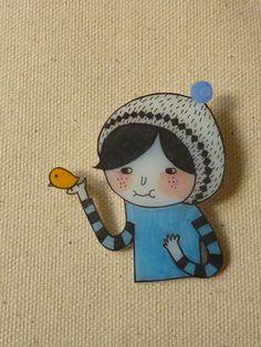 Bird and Snow Hat (Boy) - Shrink Plastic Brooch