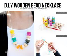 DIY wooden bead necklace http://www.agirlwhomakes.com/2012/03/diy-painted-wooden-bead-necklace.html