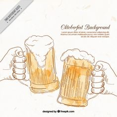 Background of hand drawn toast with beer  Free Vector