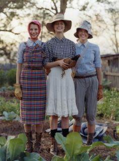 Boots, socks, collared shirt, vintage skirt