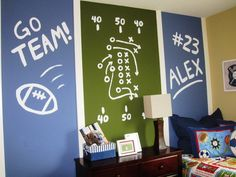 sports kids room - love the vertical color blocks - chalkboard paint?