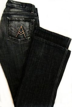7 for All Mankind A Pocket Jeans Black Extreme Distressed Flare Size 27 / 4 NWOT Free Shipping Included!