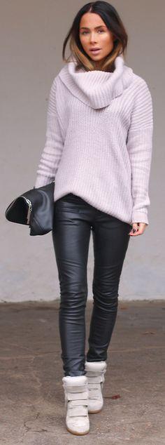 eab36b0e67db7 Grey long sleeve turtle neck, black leather skinny pants, tan wedge  sneakers, black