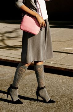 Adding these knee high socks to the fall wardrobe. Adore the lace cutout design.