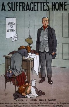 A poster (1912) by John Hassall for the National League for Opposing Woman Suffrage