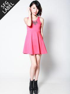 RONDA Cutout Back Skater Dress (Coral Pink)