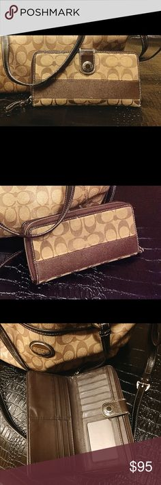 Coach Signature Brown Wallet (Bag not included) Used but in good condition....has minor wear and tear. Bag is not included in this price. Coach Bags Wallets