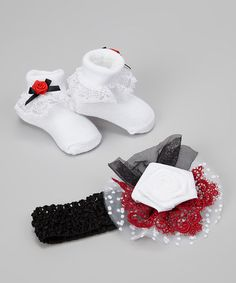 Another great find on #zulily! Black & Red Diva Headband & Ruffle Socks #zulilyfinds