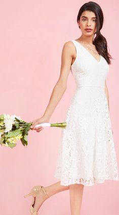 Simple V-neck Lace Short Wedding Dress for Summer, Beach Wedding, Outdoor Wedding, Country Wedding, City Hall Wedding